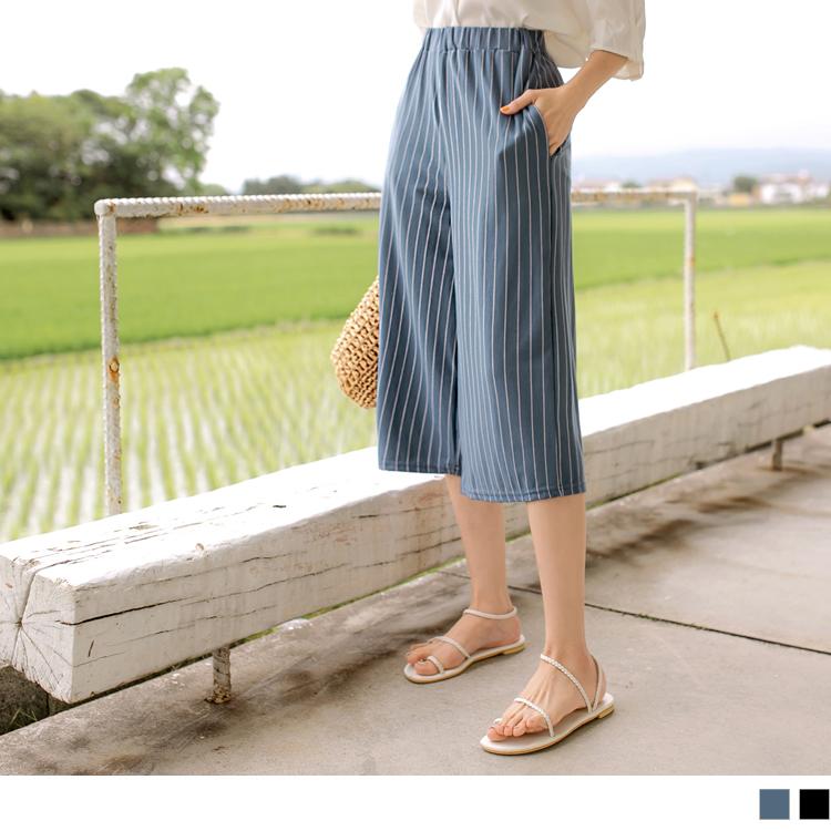 台灣製造。彈力鬆緊腰條紋七分褲