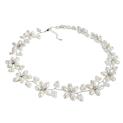 AeraVida Intricate Cultured Freshwater White Pearl Flower Link .925 St