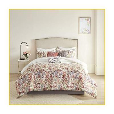 Madison Park Mariana 100% Cotton Comforter Floral Watercolor Print All Season, Hypoallergenic, Soft Set, Matching Sham, Bed Skirt, Decorativ