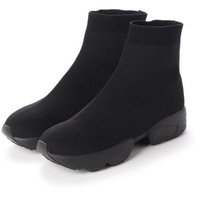 マシュガール masyugirl 【4E/幅広ゆったり・大きいサイズの靴】 ソックス風スニーカーブーツ (ブラックブラック) SOROTTO
