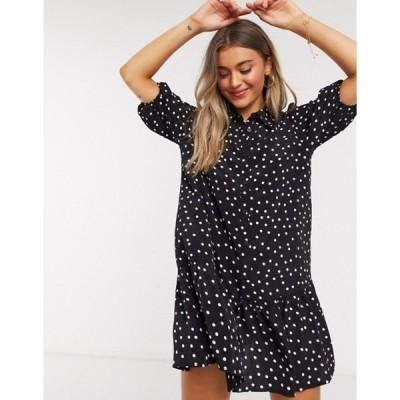 インザスタイル レディース ワンピース トップス In The Style x Jac Jossa drop waist shirt dress with puff sleeve in black polka