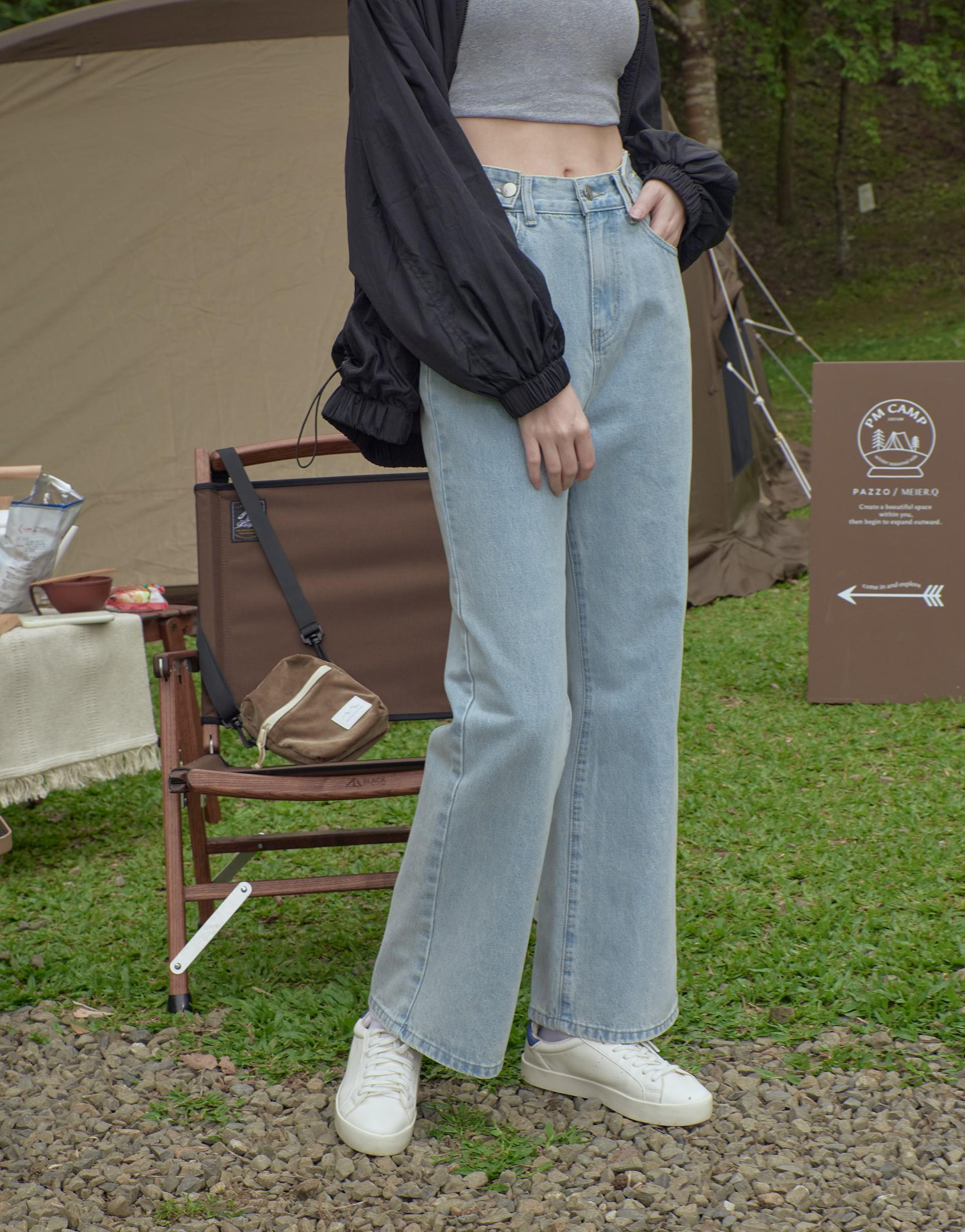 #PS201 顯瘦高腰多釦造型牛仔褲-PAZZO