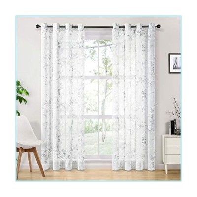 新品Topfinel Linen Textured Sheer Curtains 96 Inches Long Floral Printed Grommet Window Curtains for Bedroom Living Room, 2 Panels, White