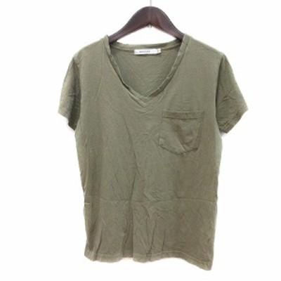 【中古】マウジー moussy カットソー Tシャツ Vネック 半袖 F 緑 カーキ /MN レディース