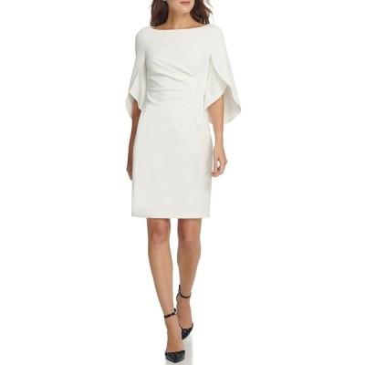 ダナ キャラン ニューヨーク レディース ワンピース トップス Tulip Sleeve Scuba Crepe Sheath Dress Ivory