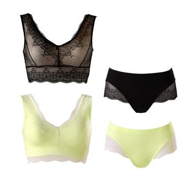 ジニエ レーシィブラ&ショーツセット 2色組(LL) (ブラジャー&ショーツセット)Bras & Panties