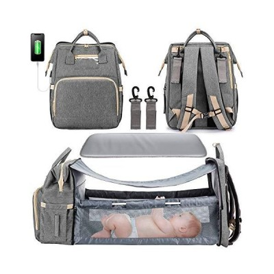 3 in 1 Diaper Bag Backpack with Changing Station, Waterproof Baby Bag with Auto Foldable Crib, Travel Bassinet with USB Charging Port and Sh
