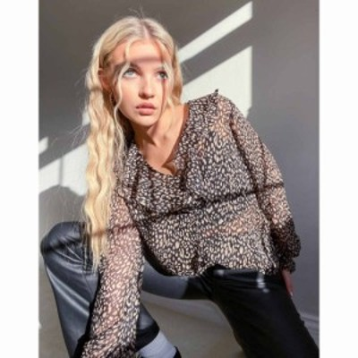 ニュールック New Look レディース ブラウス・シャツ トップス ruffle front blouse in leopard print ブラックパターン