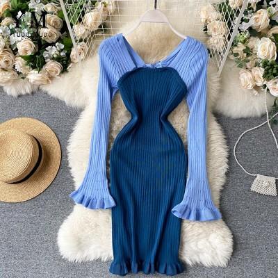 YuooMuooInsファッションニットレディ・スドレス2020拍喬カラ・パッチワ・クスリムシ・スボディコンドレスフリルレディ・スショ・トドレス