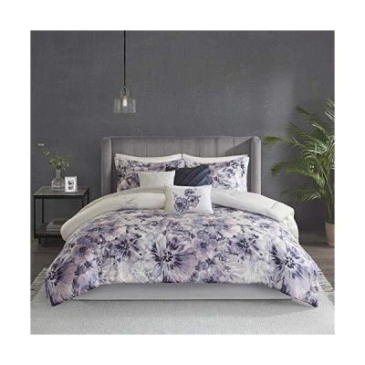 """Madison Park マディソンパーク 100% Cotton Comforter Contemporary Floral Design All Season Set, Matching Bed Skirt, Decorative Pillows, Queen(90""""x90""""),"""
