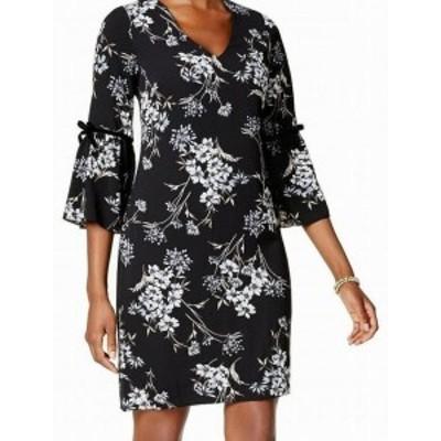 Jessica Howard ジェシカハワード ファッション ドレス Jessica Howard NEW Black Blue Floral 8P Petite V-Neck Flutter Dress