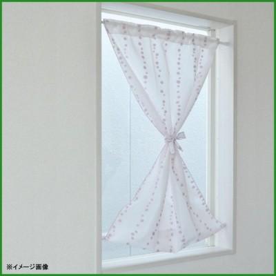 パイルミラーレース小窓カーテン 水玉柄 31208 パープル 70×120cm|b03