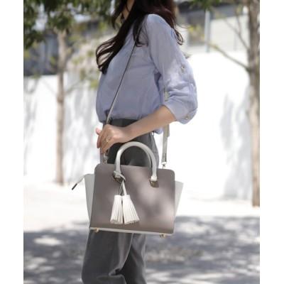 florist / 2wayタッセルチャーム付きバイカラーオフィスバッグ WOMEN バッグ > ハンドバッグ