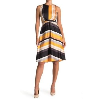 ロンドンタイムス レディース ワンピース トップス Striped Waist Tie Dress GOLD