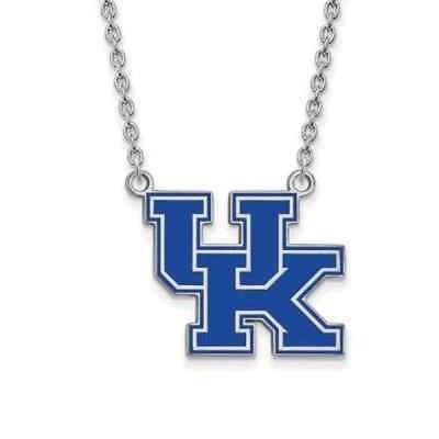 ストーンのついていない貴金属 ロゴアート Sterling Silver LogoArt U of Kentucky Large Enamel Pendant with Necklace