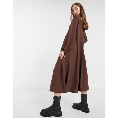 エイソス レディース ワンピース トップス ASOS DESIGN textured smock midi dress with V-neck in chocolate brown Chocolate brown