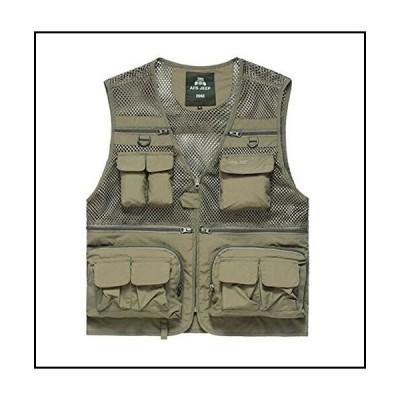 【新品】PANDA SUPERSTORE Breathable Multi-Pockets Men's Mesh Fishing Vest Waistcoat Khaki, XL【並行輸入品】