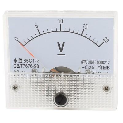 uxcell アナログ電圧パネル 85C1-V DC 0-20V 6.3 x 5.5 x 1cm ホワイト