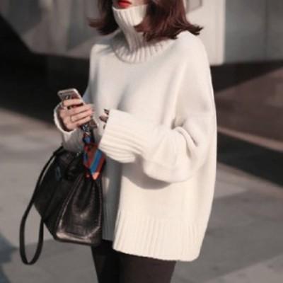 タートルネック セーター ハイネック ニット レディース トップス ゆったりニット 秋服 冬服 韓国 ファッション