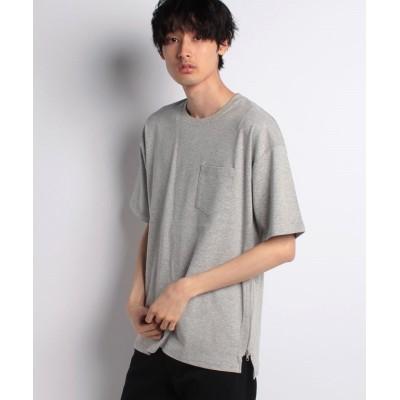 【スタイルブロック】 サイドジップ綿ポンチBIGTシャツ メンズ 杢 グレー M STYLEBLOCK