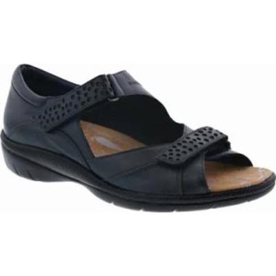 Drew レディースサンダル Drew Bay Hook and Loop Sandal Navy Leather