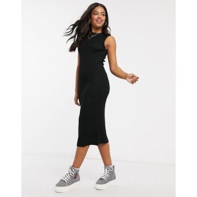フレンチコネクション French Connection レディース ワンピース ノースリーブ ミドル丈 ワンピース・ドレス sleeveless knitted midi dress in black ブラック