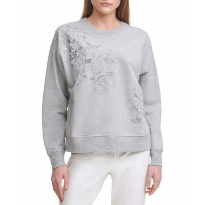 カルバンクライン パーカー・スウェットシャツ アウター レディース Long Sleeve Floral Embossed Fashion Sweatshirt Heather Grey
