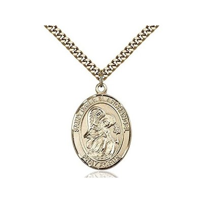 【新品】聖ガブリエルArchangel手作り楕円形のメダルペンダント14KTイエロー金張り ゴールド