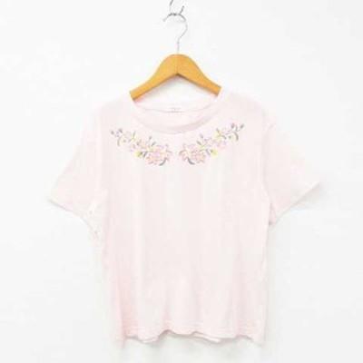 【中古】COLZA Tシャツ カットソー 半袖 クルーネック 花刺繍 コットン混 ライトピンク マルチカラー M レディース