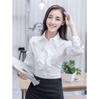 シャツ  ブラウス  レディース  白シャツ  長袖  ワイシャツ 通勤  通学  OL  女の子  春夏  可愛い  トップス