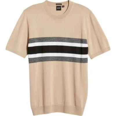 ヒューゴ ボス BOSS メンズ ニット・セーター トップス Manni Stripe Short Sleeve Sweater Black