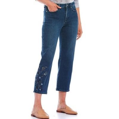 エヌワイディージェイ レディース デニムパンツ ボトムス Relaxed Straight Leg Floral-Embroidered Detail Ankle Jeans