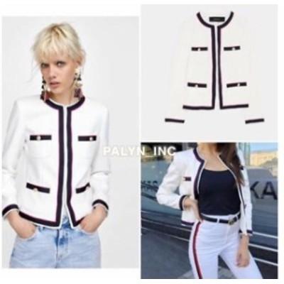 Blazer ブレザー ファッション 衣類 NWT ZARA SS18 ECRU BLAZER WITH CONTRASTING TRIMS JACKET 2862/700_size S L XL