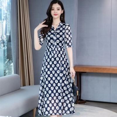 サマーレース シフォン ドレス サマードレス ゆったりウエスト ロングスカート