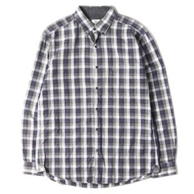LACOSTE ラコステ シャツ エルボーパッチ チェック ボタンダウンシャツ REGULAR FIT ネイビー ブラック 39 【メンズ】【中古】【K2908】
