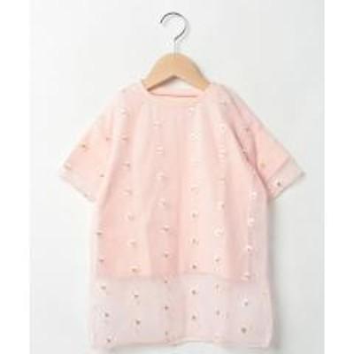 b・ROOM(ビールーム)フラワー刺しゅうシアー重ね着半袖Tシャツ