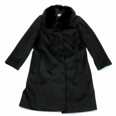 カシミヤコート レディース フォックス FOX ステンカラーコート ロングコート カシミヤ100% 毛皮 ファー ブルーフォックス ハンドステッチ 210A