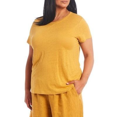 エイリーンフィッシャー レディース Tシャツ トップス Plus Size Organic Linen Round Neck Cap Sleeve Tee Marigold