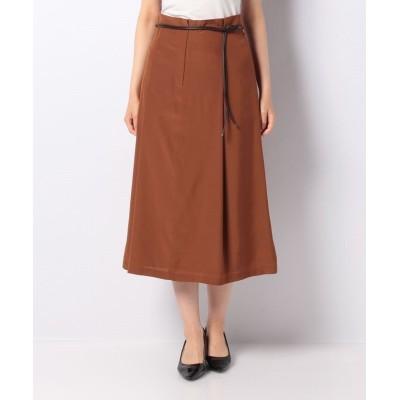 【ラピーヌ ブランシュ】 ベルト付きロングスカート レディース ブラウン 40 LAPINE BLANCHE