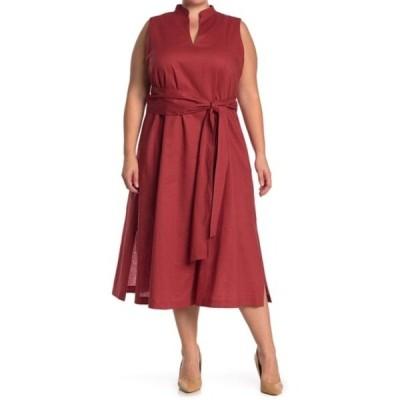 アンクライン レディース ワンピース トップス Linen Midi Dress With Attached Sash (Plus Size) CINNAMON