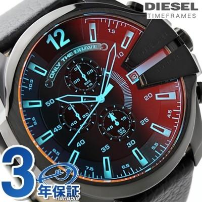 ディーゼル 時計 メンズ DIESEL 腕時計 DZ4323 メガ チーフ クロノグラフ クオーツ オールブラック レザーベルト