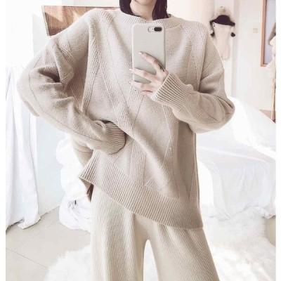 レディースニットセーター長袖オーバーサイズゆったりプルオーバートップス秋冬ピンクベージュホワイトフリーサイズ