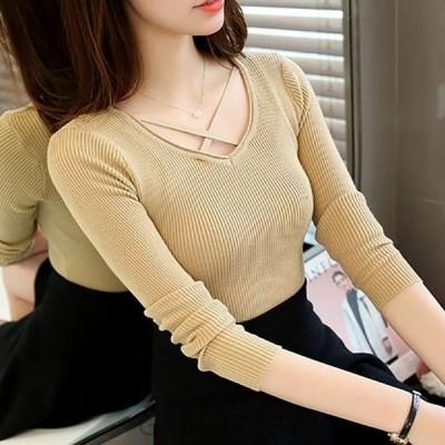 ニット長袖レディース秋冬トップス胸元おしゃれカットソーニットソー可愛いかわいいファッション