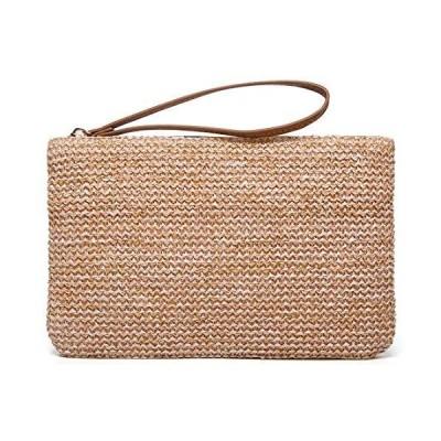 Straw Clutch Bag Bohemian Summer Beach Straw Purse Zipper Wristlet Wallets