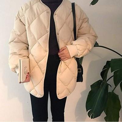 ダウンジャケット ダウンコート シンプル レディース ノーカラージャケット シンプルデザイン コットン ファッション 厚手 暖か カーキ アプリコット