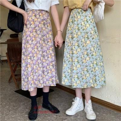 レディース ボトムス ハイウェスト 夏 花柄可愛い ミモレ丈 女子 ロングスカート