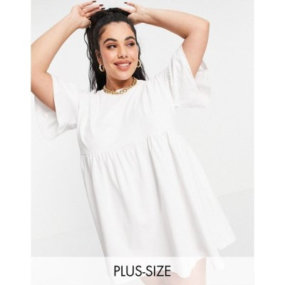 インザスタイル ドレス 大きいサイズ レディース In The Style Plus x Olivia Bowen exclusive smock dress with fluted sleeves in white エイソス ASOS ホワイ