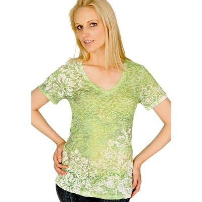 Kavio Women Burnout Hibiscus Sublimation V Neck Short Sleeve Lime M