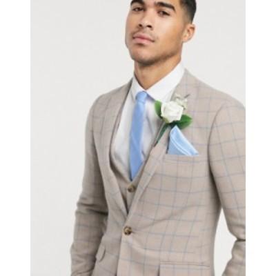 エイソス メンズ ジャケット・ブルゾン アウター ASOS DESIGN wedding super skinny suit jacket in wool mix with beige grid check Bei