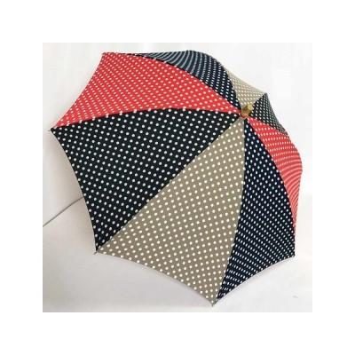 晴雨兼用傘UVケアパラソル 長傘綿プリント水玉コンビ
